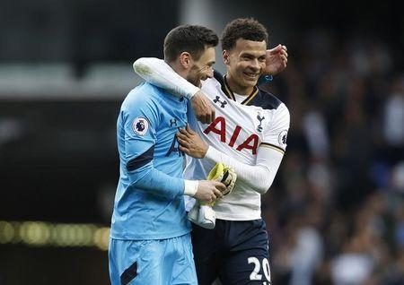 Britain Football Soccer - Tottenham Hotspur v Arsenal - Premier League - White Hart Lane - 30/4/17 Tottenham's Dele Alli celebrates after the match with Hugo Lloris  Action Images via Reuters / Paul Childs Livepic