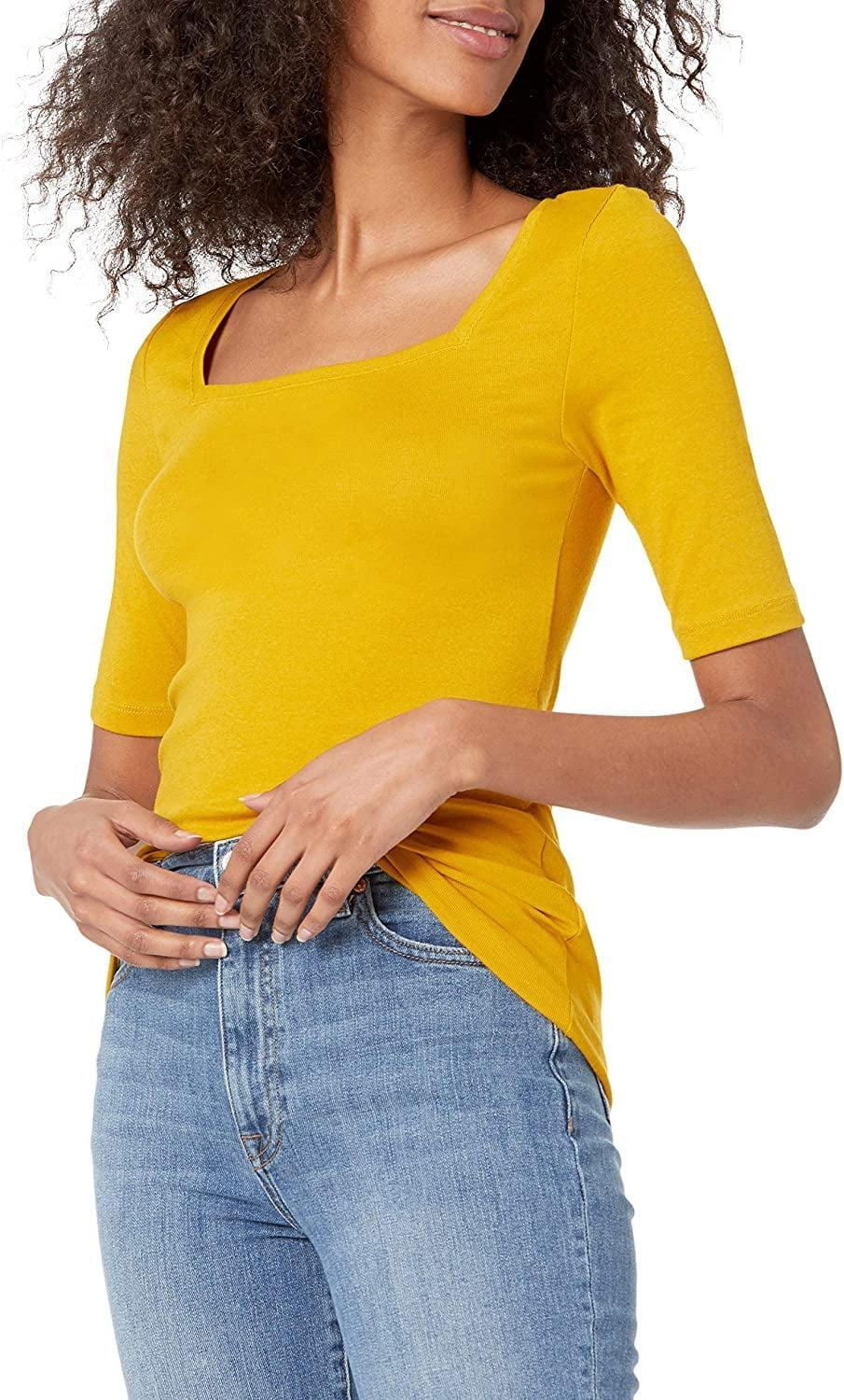 <p>This <span>Amazon Essentials Square-Neck T-Shirt</span> ($17) will quickly become your favorite, thanks to the flattering silhouette and stretchy fabric. It's a colorful pick you'll turn to over and over again.</p>