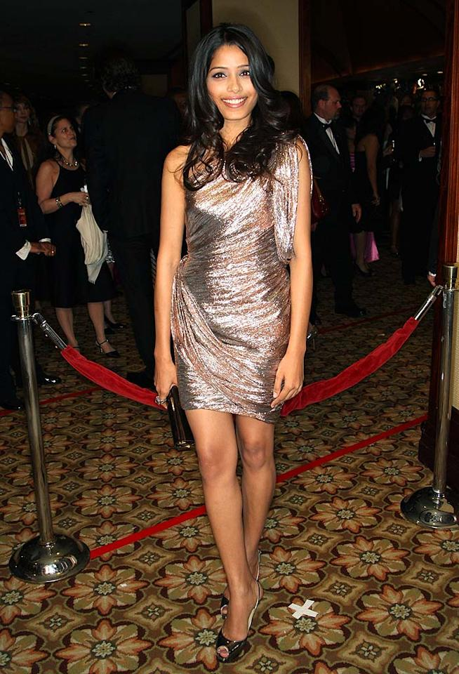 """Slumdog Millionaire's"" breakout babe Freida Pinto stole the spotlight in a one-shouldered metallic mini, courtesy of Zac Posen, at last week's Directors Guild Awards. Frederick M. Brown/<a href=""http://www.gettyimages.com/"" target=""new"">GettyImages.com</a> - January 31, 2009"