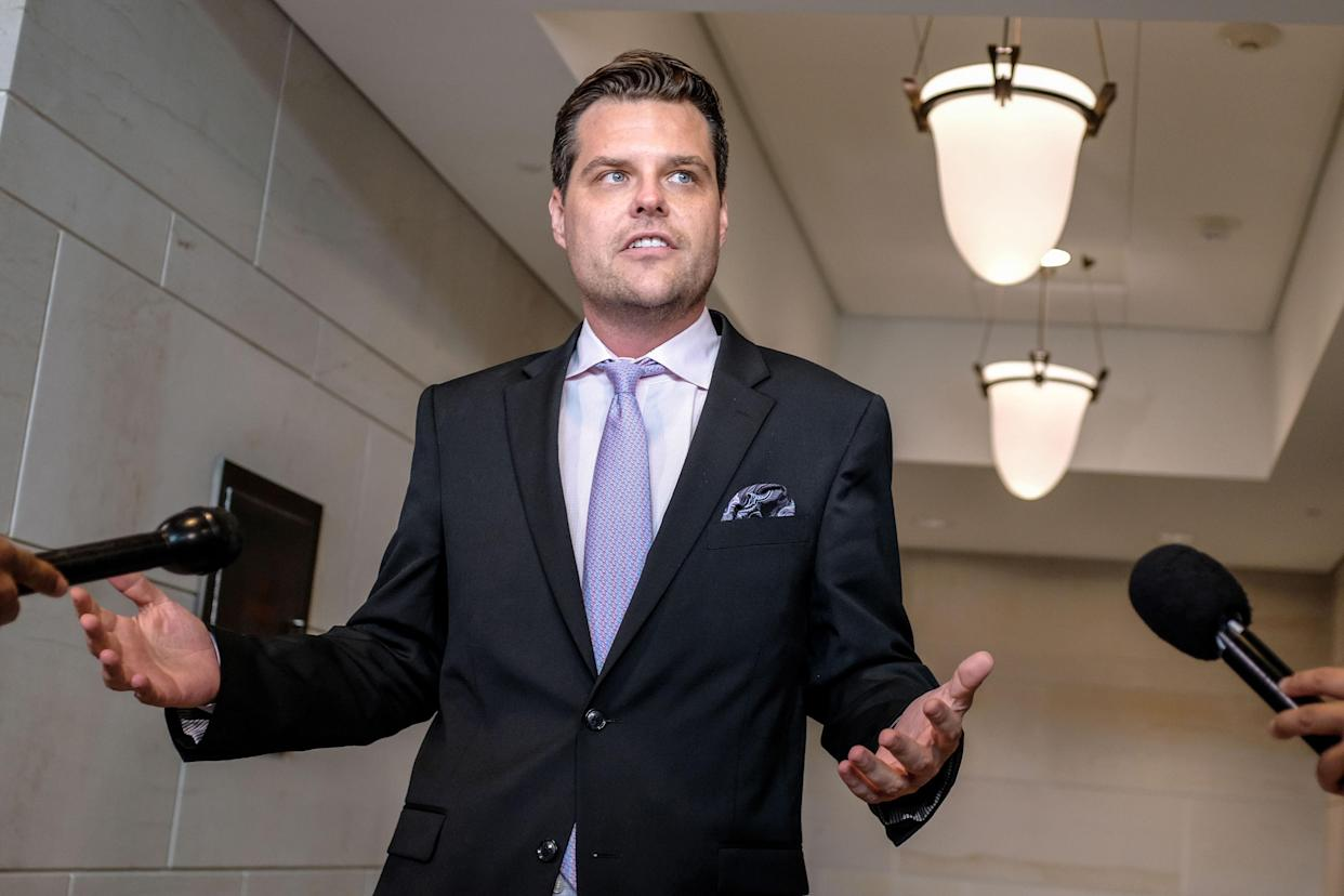 Rep. Matt Gaetz addresses the media on Capitol Hill on Monday. (Photo: Alex Wroblewski/Getty Images)