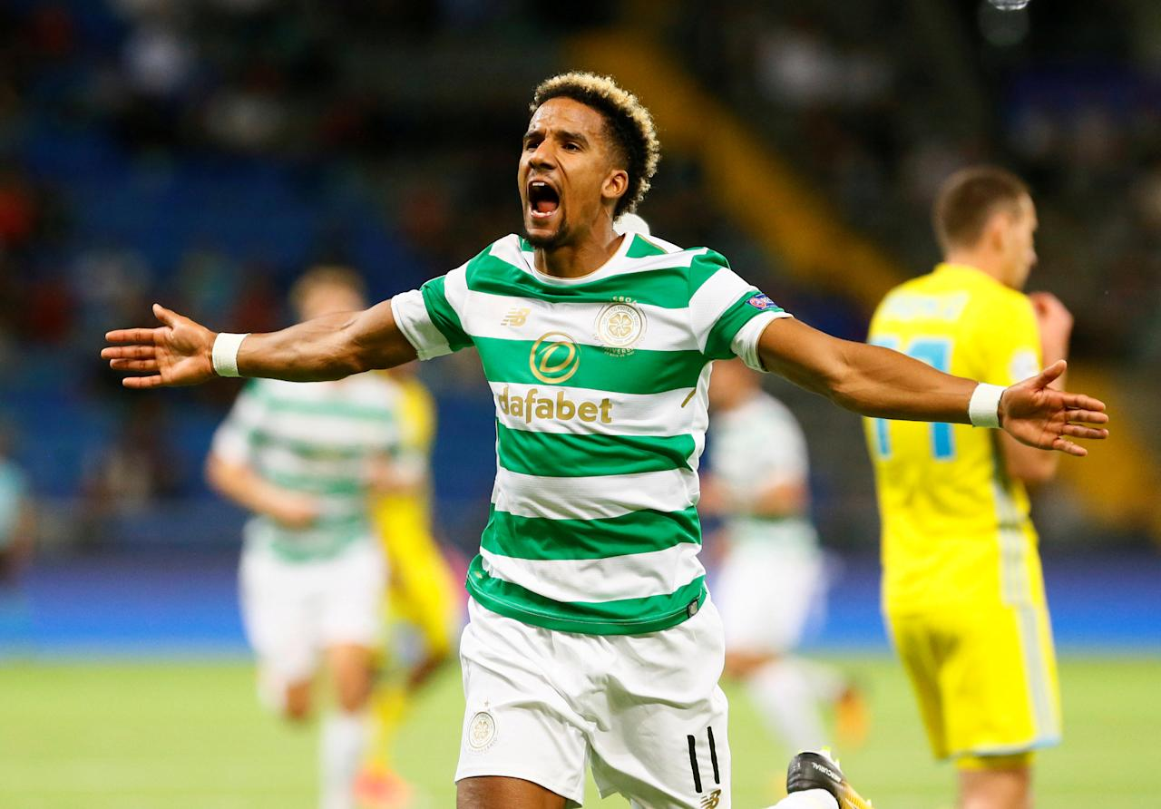 Soccer Football - Champions League Playoffs - FC Astana v Celtic - Astana, Kazakhstan - August 22, 2017     Celtic's Scott Sinclair celebrates scoring their first goal    REUTERS/Shamil Zhumatov     TPX IMAGES OF THE DAY