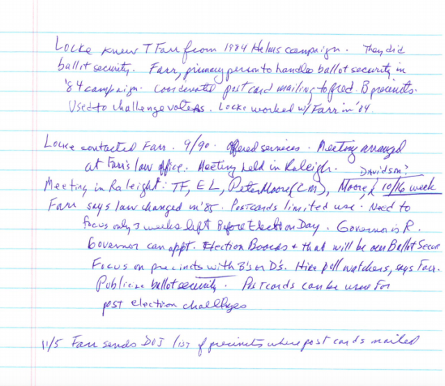 Gerald Hebert's notes on Thomas Farr participating in an October 1990 meeting about sending misleading postcards to black voters in North Carolina. Farr told a Senate committee earlier this year he didn't participate in the scheme as it was being developed. (Gerald Hebert)