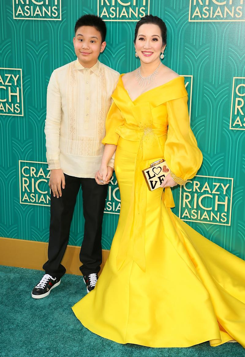 Actress Kris Aquino (right) and her son actor Bimby Aquino Yap (JEAN-BAPTISTE LACROIX via Getty Images)