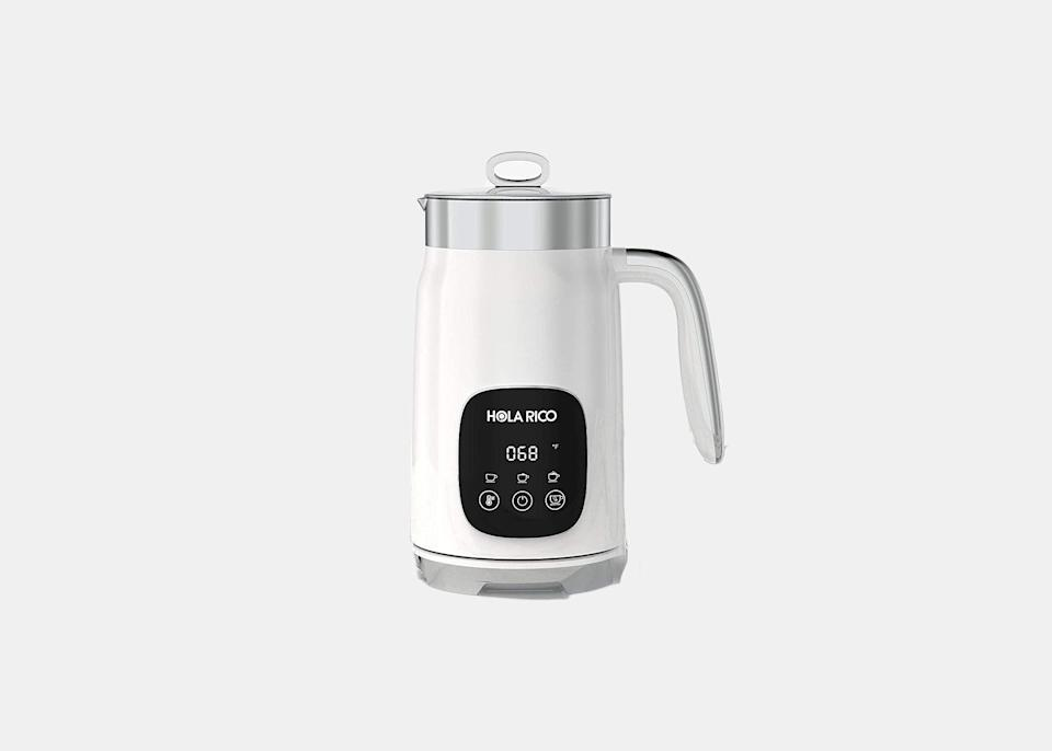 """Recreate the experience of enjoying a cappuccino in Rome in the comfort of your own home with this milk frother. Latte and cappuccino lovers can steam their own choice of milk to perfection with this frother's convenient memory function. It remembers your previous setting to keep your coffee's foam consistent and <em>just right</em> every time. You can customize temperature and thickness for airy or silky milk foam, and can be used to make a cup of hot cocoa during the holiday season. $70, Amazon. <a href=""""https://www.amazon.com/Electric-Variable-Function-Cappuccino-Chocolate/dp/B09G6NB5SX/ref=sr_1_1_sspa?dchild=1&keywords=Electric+Milk+Frother+%26+Steamer&qid=1633627220&sr=8-1-spons&psc=1"""" rel=""""nofollow noopener"""" target=""""_blank"""" data-ylk=""""slk:Get it now!"""" class=""""link rapid-noclick-resp"""">Get it now!</a>"""