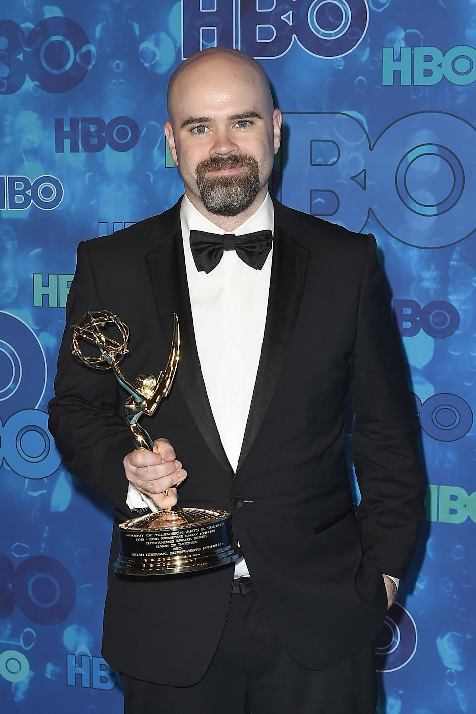 LOS ANGELES, CA - SEPTEMBER 18:  Bryan Cogman attends HBO's Post Award Reception Following the 68th Primetime Emmy Awards at The Plaza at the Pacific Design Center on September 18, 2016 in Los Angeles, California.  (Photo by David Crotty/Patrick McMullan via Getty Images)