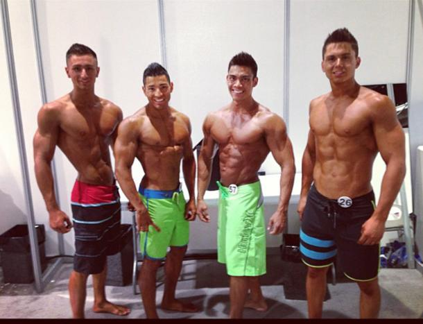 Backstage with other contestants at Mr Olympia Muscle & Fitness Search 2013. (Adrian Tan Photo)