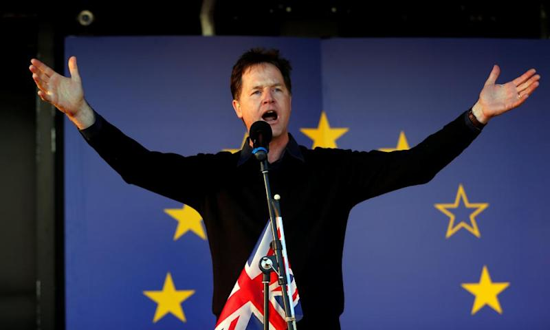 Former Liberal Democrat leader Nick Clegg speaks at a Unite for Europe rally in central London in 2017.