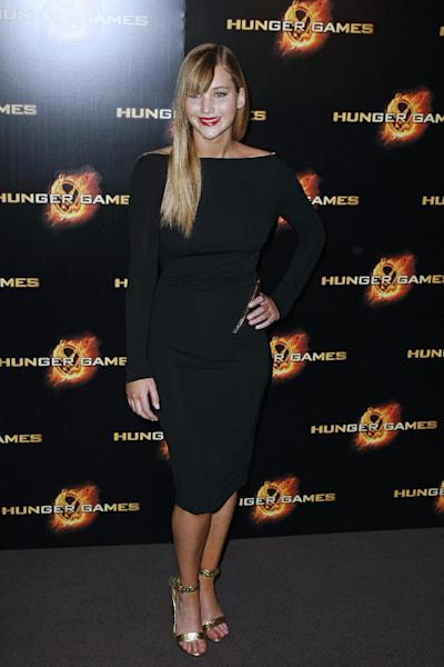 Jennifer Lawrence attends the premiere of The Hunger Games movie in Paris, Thursday, March 15, 2012. (AP Photo/Thomas Padilla)