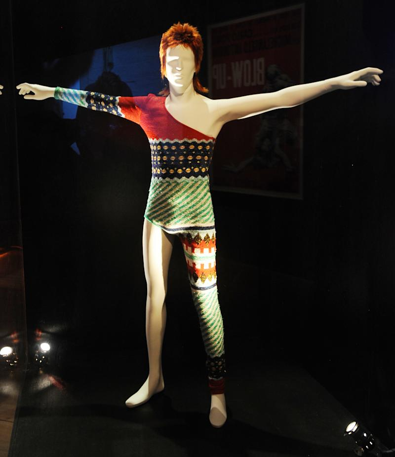 David Bowie's Ziggy Stardust stage costume displayed at British Design 1948-2012 Innovation In The Modern Age press view at V&A. (Photo by rune hellestad/Corbis via Getty Images)