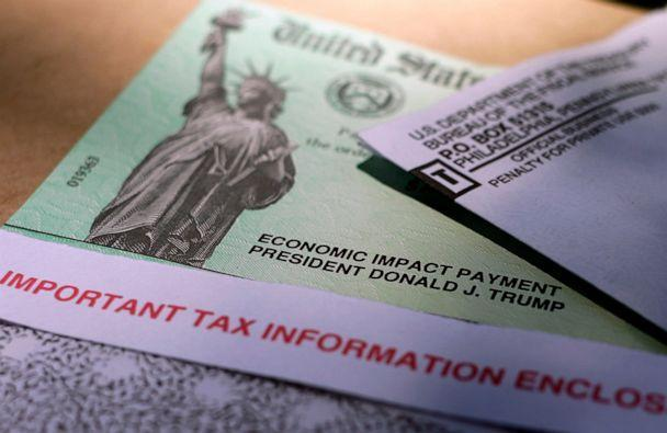 PHOTO: President Donald J. Trump's name is printed on a stimulus check issued by the IRS, April 23, 2020. (Eric Gay/AP, FILE)