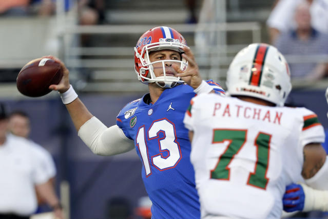 Florida quarterback Feleipe Franks (13) threw for 254 yards and two touchdowns in a win over Miami. (AP Photo/John Raoux)