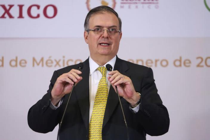FILE PHOTO: Mexico's Foreign Minister Marcelo Ebrard delivers a message to the media after taking on the PTP of the CELAC, in Mexico City