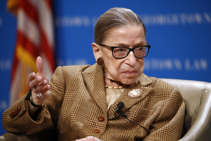 FILE - In this Feb. 10, 2020 , file photo, U.S. Supreme Court Associate Justice Ruth Bader Ginsburg speaks during a discussion on the 100th anniversary of the ratification of the 19th Amendment at Georgetown University Law Center in Washington. The Supreme Court says Ginsburg has been hospitalized with an infection caused by a gallstone. The 87-year-old justice underwent non-surgical treatment Tuesday, May 5, for what the court described as acute cholecystitis, a benign gall bladder condition, at Johns Hopkins Hospital in Baltimore. (AP Photo/Patrick Semansky, File)