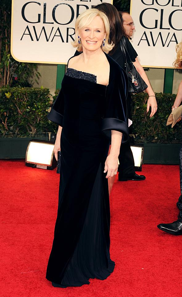 """<strong>Glenn Close</strong><br><strong>Grade: B</strong><br><br>It's hard to believe that Glenn Close received her Best Actress nomination for a role in which she passes herself off as a man (""""Albert Nobbs). The 64-year-old looked elegant as ever in a black velvet dress and matching shawl as she walked the red carpet.<br><br><br><br>"""