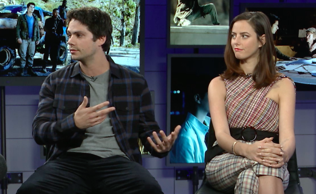 Dylan O'Brien discusses his injury on the set of <em>Maze Runner: The Death Cure</em> as co-star Kaya Scodelario listens. (Photo: Yahoo Entertainment)
