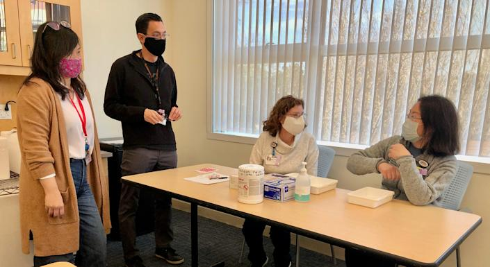 UCI Health pharmacy and other hospital staff conduct a COVID-19 vaccine run-through session on Sunday, Dec. 13, 2020 as they prepared for actual vaccine to arrive in the next week.