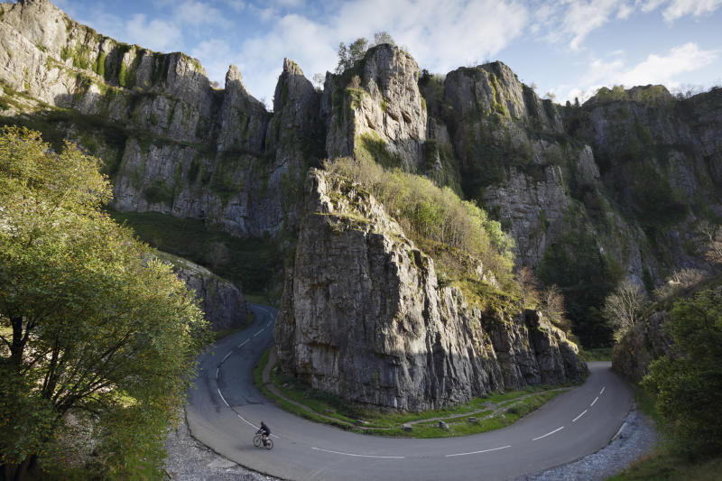 Cheddar Gorge in the Mendip Hills, Somerset, UK.