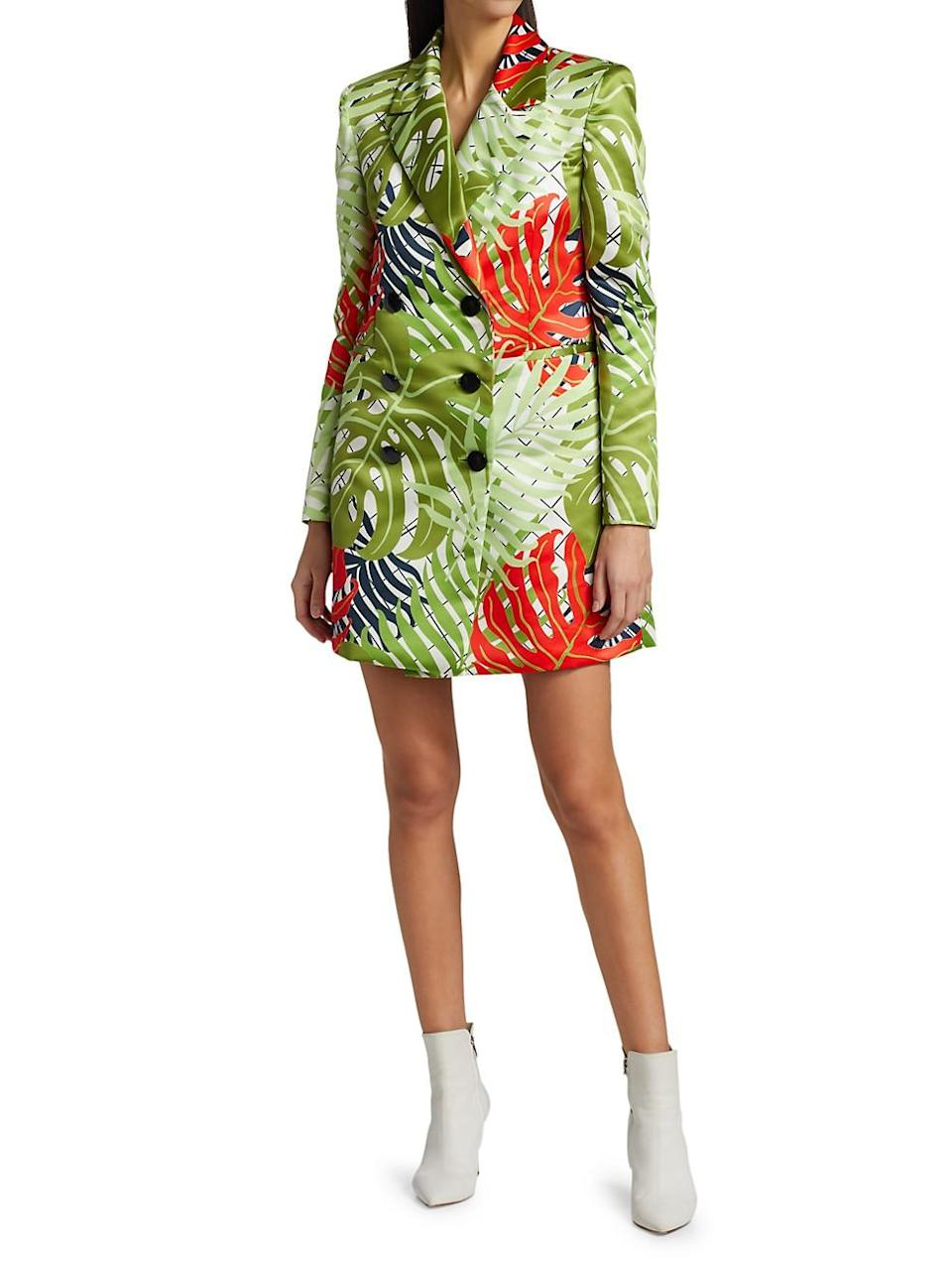 Brandi Garden Print Double-Breasted Coat Dress
