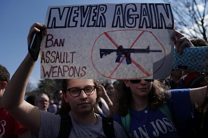 <p>Students participate in a protest against gun violence Feb. 21, 2018 on Capitol Hill in Washington, DC. Hundreds of students from a number of Maryland and DC schools walked out of their classrooms and made a trip to the U.S. Capitol and the White House to call for gun legislation, one week after 17 were killed in the latest mass school shooting at Marjory Stoneman Douglas High School in Parkland, Florida. (Photo: Alex Wong/Getty Images) </p>