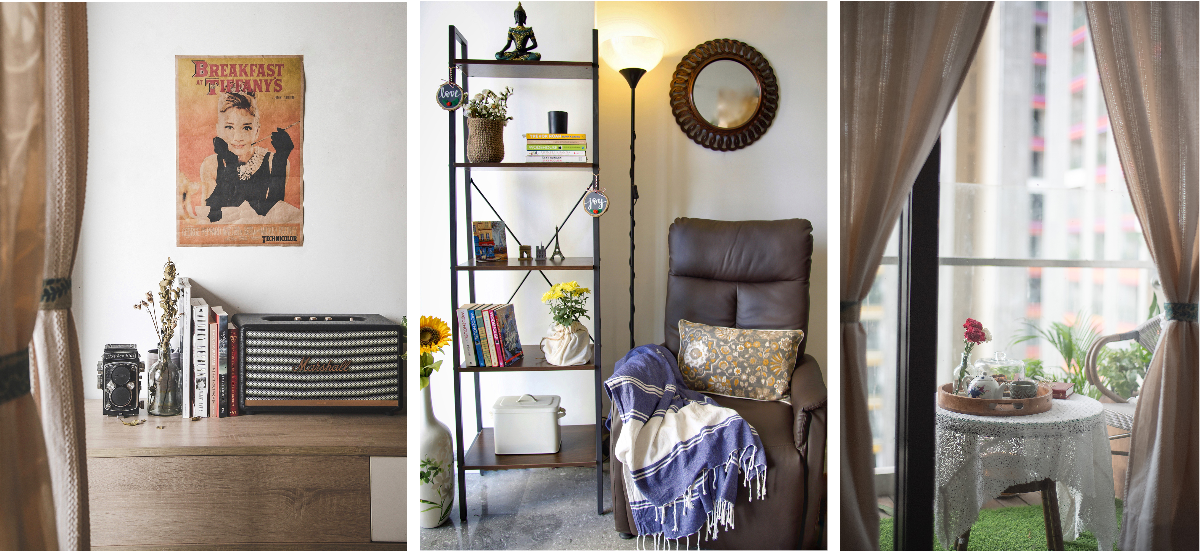 The living area is demarcated by functional and thematic nooks. (L-R): A vintage corner holds the residents' classic collection of music and books; Radhika's favourite reading spot; and an adorable balcony.