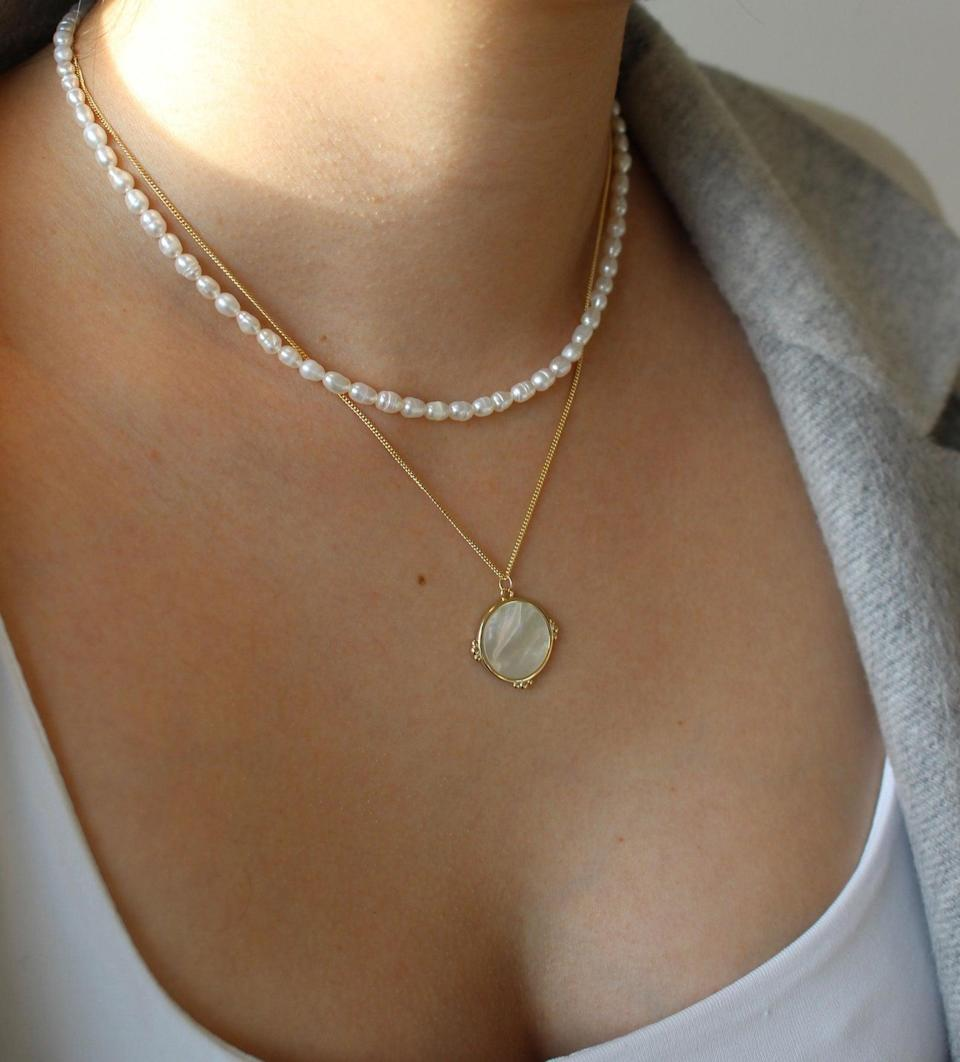 <p>This <span>Freshwater Pearl Necklace</span> ($30) will dress up any top.</p>