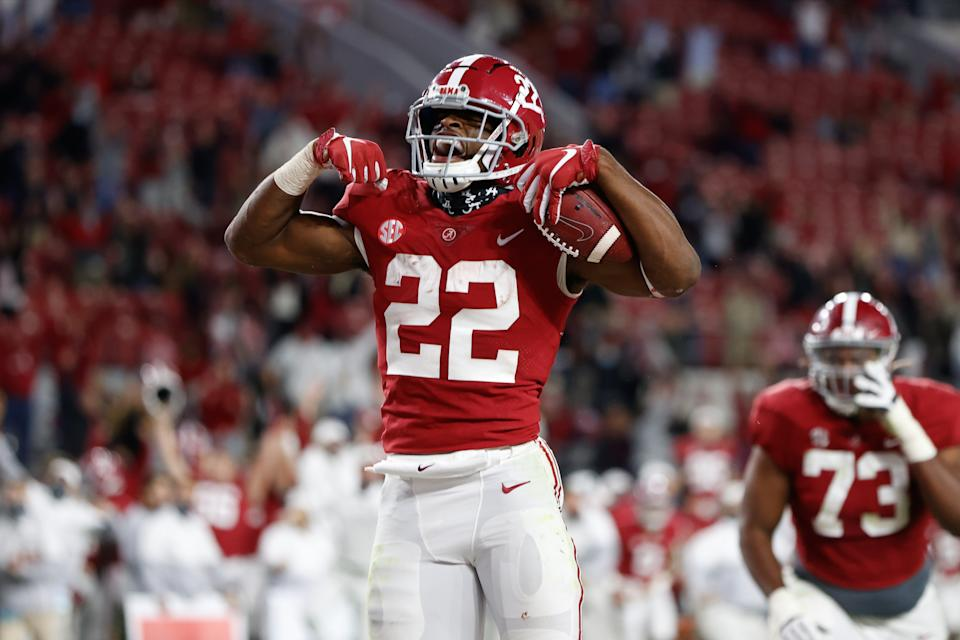TUSCALOOSA, AL - OCTOBER 17: Najee Harris #22 of the Alabama Crimson Tide celebrates after diving into the endzone for a touchdown in the second half against the Georgia Bulldogs at Bryant-Denny Stadium on October 17, 2020 in Tuscaloosa, Alabama. (Photo by UA Athletics/Collegiate Images/Getty Images)