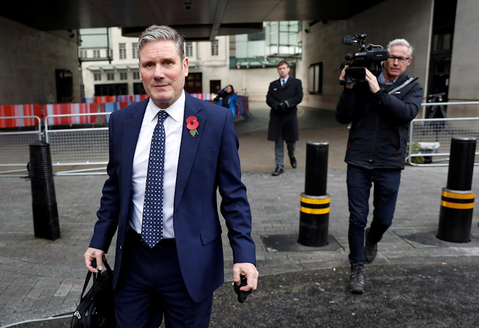 Britain's opposition Labour Party leader Keir Starmer leaves the BBC headquarters after appearing on The Andrew Marr Show, in London, Britain, November 1, 2020. REUTERS/Peter Nicholls