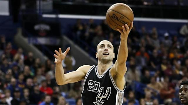 "<a class=""link rapid-noclick-resp"" href=""/nba/players/3380/"" data-ylk=""slk:Manu Ginobili"">Manu Ginobili</a> was nearly too slick for his own good against the Knicks"