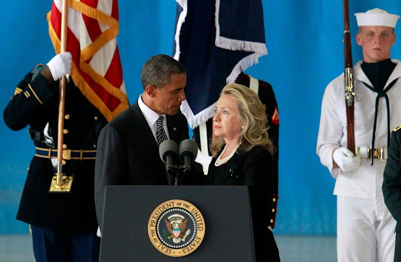 U.S. President Obama and Secretary of State Clinton deliver remarks during a transfer ceremony of the remains of U.S. Ambassador to Libya, Chris Stevens and three other Americans killed this week in Benghazi, at Andrews Air Force Base near Washington