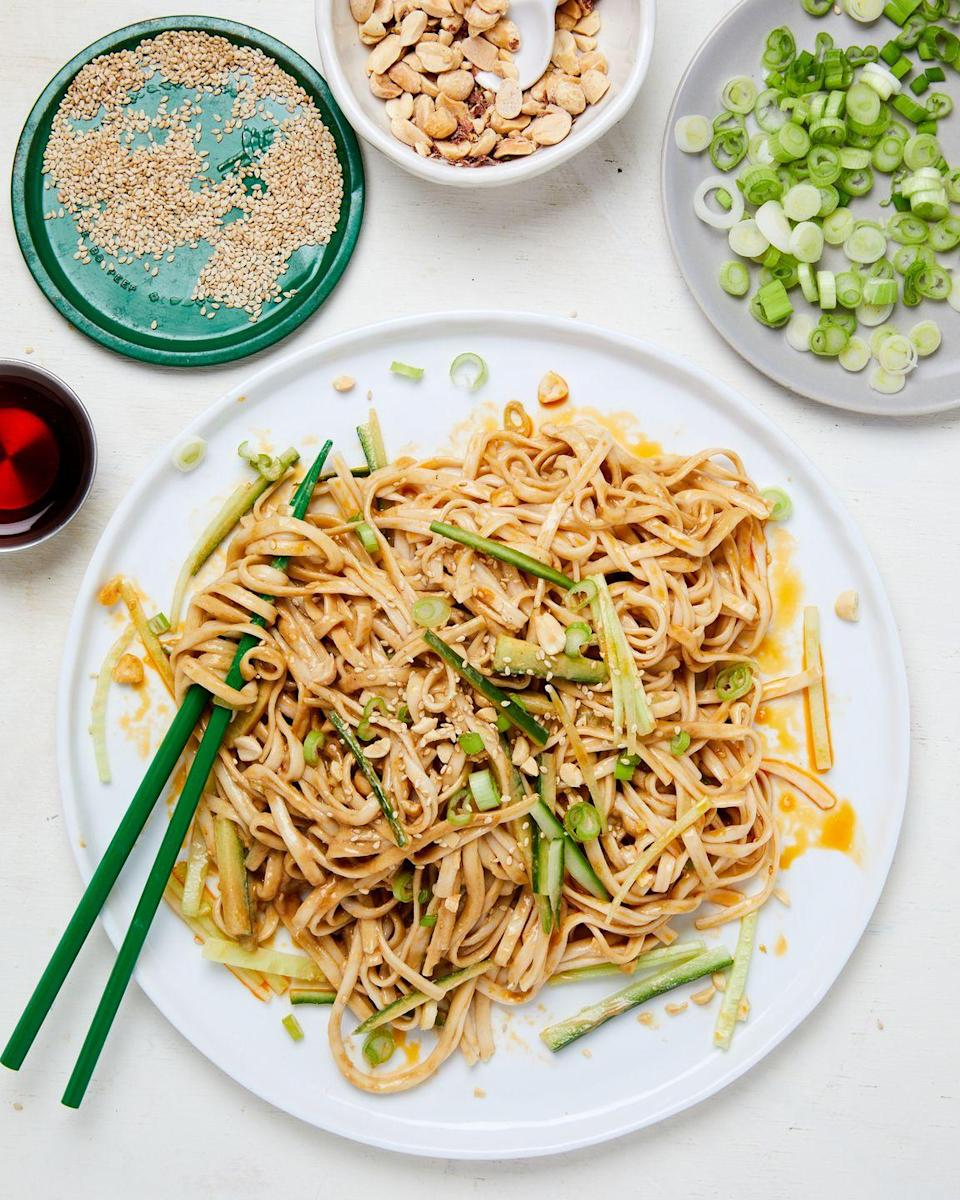 """<p>Be the star of the cookout with this simple, filling noodle dish that comes together in under 10 minutes.</p><p>Get the recipe from <a href=""""https://www.delish.com/cooking/recipe-ideas/a36343029/sesame-noodles-recipe/"""" rel=""""nofollow noopener"""" target=""""_blank"""" data-ylk=""""slk:Delish"""" class=""""link rapid-noclick-resp"""">Delish</a>.</p>"""