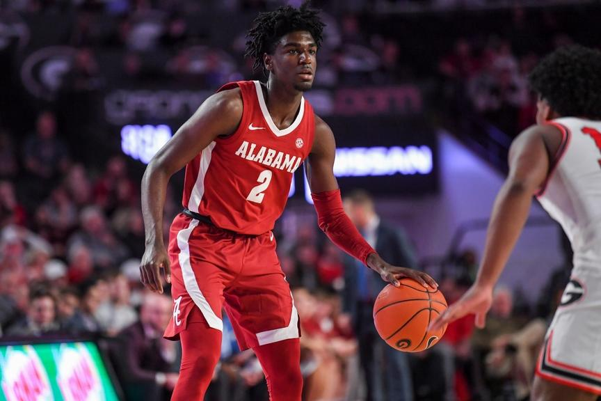 Kira Lewis Jr. holds ball during Alabama game against Georgia