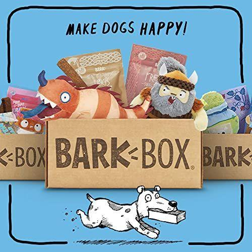 """<p><strong>Bark Box</strong></p><p>amazon.com</p><p><strong>$35.00</strong></p><p><a href=""""https://www.amazon.com/dp/B07R5VH7XT?tag=syn-yahoo-20&ascsubtag=%5Bartid%7C10055.g.34739804%5Bsrc%7Cyahoo-us"""" rel=""""nofollow noopener"""" target=""""_blank"""" data-ylk=""""slk:Shop Now"""" class=""""link rapid-noclick-resp"""">Shop Now</a></p><p>If you've already heard of a dog subscription box, it's probably this super-popular one. With fun themed boxes, a satisfaction guarantee, and seriously adorable toys inside, this one is the OG for a reason. </p><p><strong>$35 per month</strong></p>"""