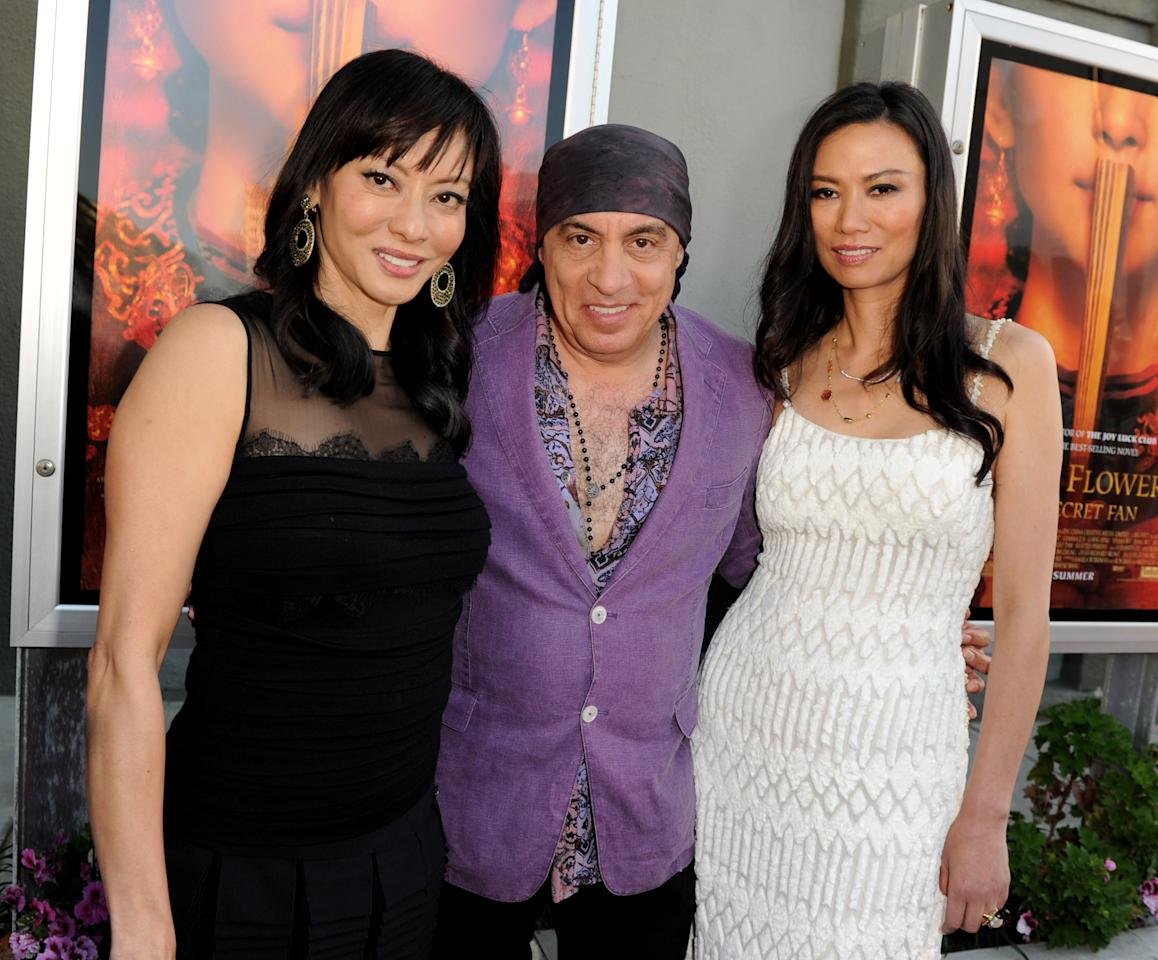 "LOS ANGELES, CA - JULY 11:  (L-R) Producer Florence Sloan, musician/actor Steven Van Zandt and producer Wendi Murdoch pose at a screening of Fox Searchlights' ""Snowflower and the Secret Fan"" at Fox Studios' The Little Theater on July 11, 2011 in Los Angeles, California.  (Photo by Kevin Winter/Getty Images)"