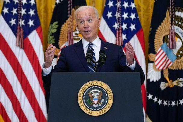 PHOTO: President Joe Biden speaks during a news conference in the East Room of the White House, March 25, 2021. (Evan Vucci/AP)