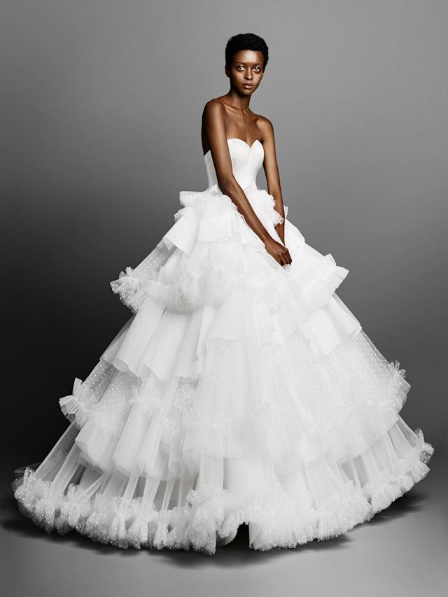 <p>Strapless tiered-ruffle dress. (Photo: Courtesy of Viktor & Rolf) </p>