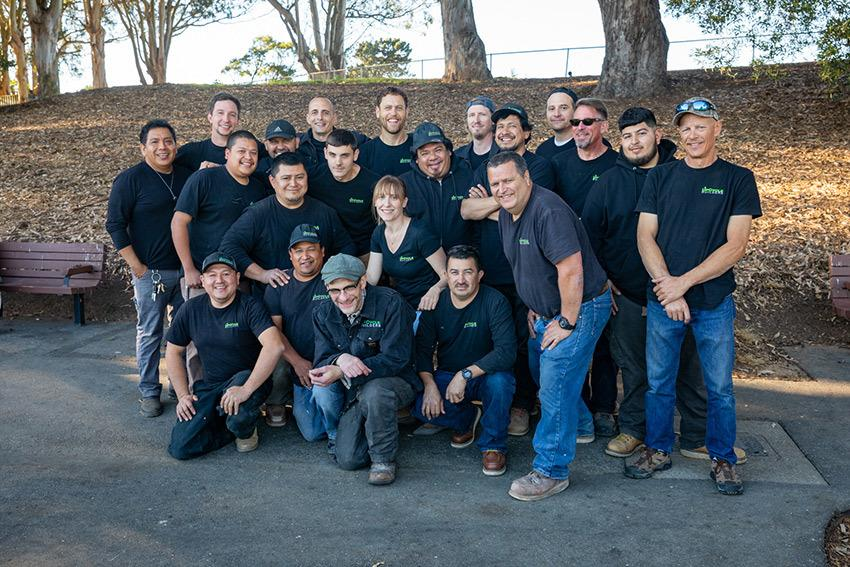 """Rob Walker (rear middle) and the team at UpCycle Builders. 
