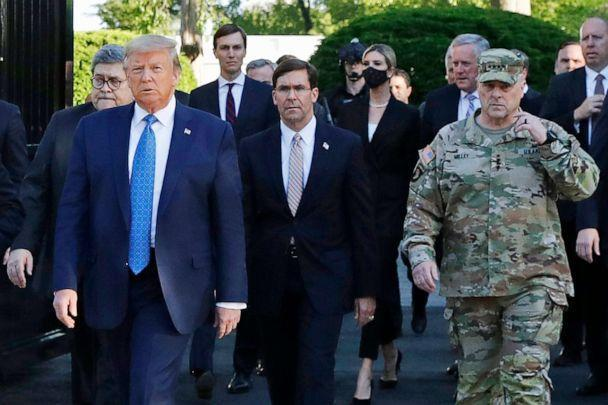 PHOTO: President Donald Trump departs the White House to visit St. John's Church, along with Attorney General William Barr, left, Secretary of Defense Mark Esper, center, and Gen. Mark Milley, chairman of the Joint Chiefs of Staff, right, June 1, 2020. (Patrick Semansky/AP)