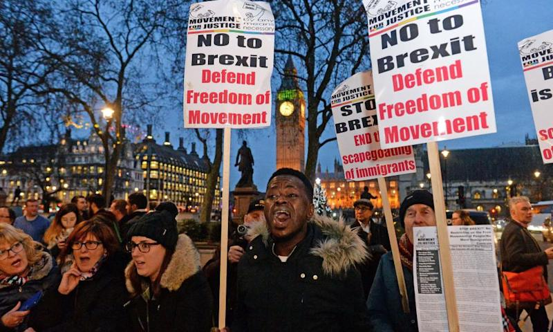 Anti-Brexit campaigners outside the Supreme Court in London.