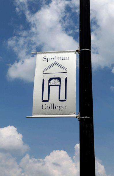 PHOTO: In this July 18, 2015, file photo, a Spelman College banner flies outside Spelman College in Atlanta. (Raymond Boyd/Getty Images, FILE)
