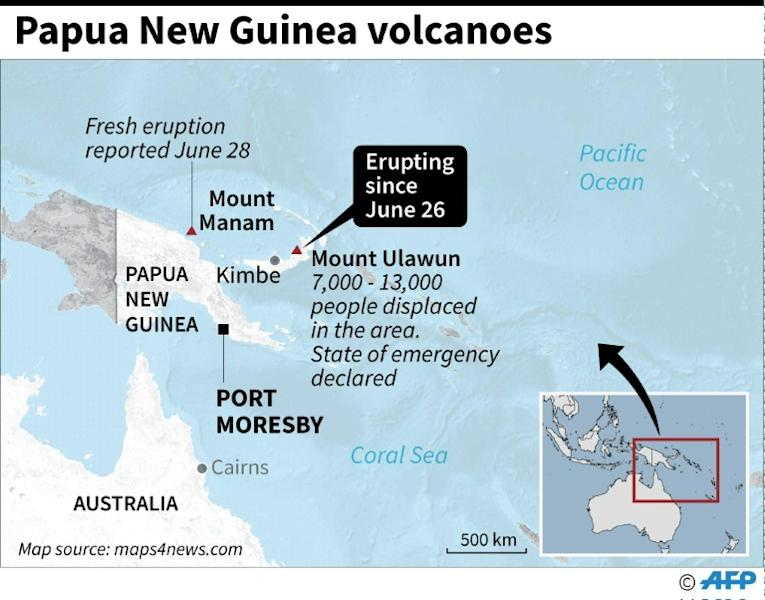 Map locating Mount Ulawun in Papua New Guinea which began spewing ash on June 26, as well as Mount Manam which started to erupt on June 28 (AFP Photo/John SAEKI)