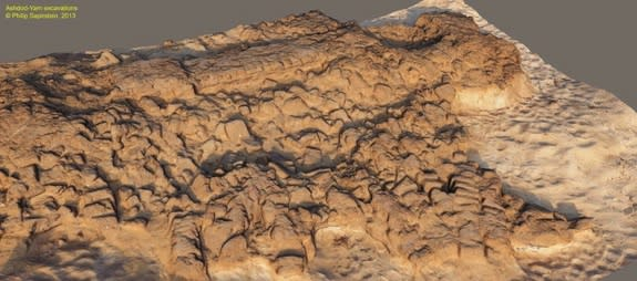 A 3D rendering of collapsed of mud-brick structures from Hellenistic period (2nd century BC). Those structures had been built on top of the Iron Age embankments.