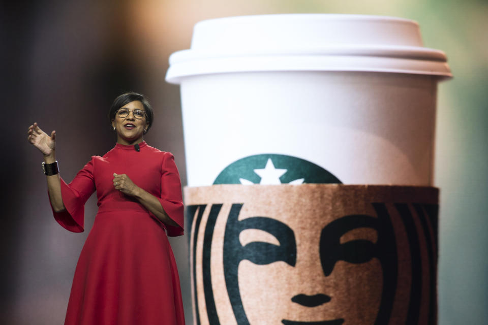 "Starbucks Chief Operations Officer and Group President Rosalind ""Roz"" Brewer speaks at the Annual Meeting of Shareholders in Seattle, Washington on March 20, 2019. (Photo by Jason Redmond / AFP)        (Photo credit should read JASON REDMOND/AFP via Getty Images)"