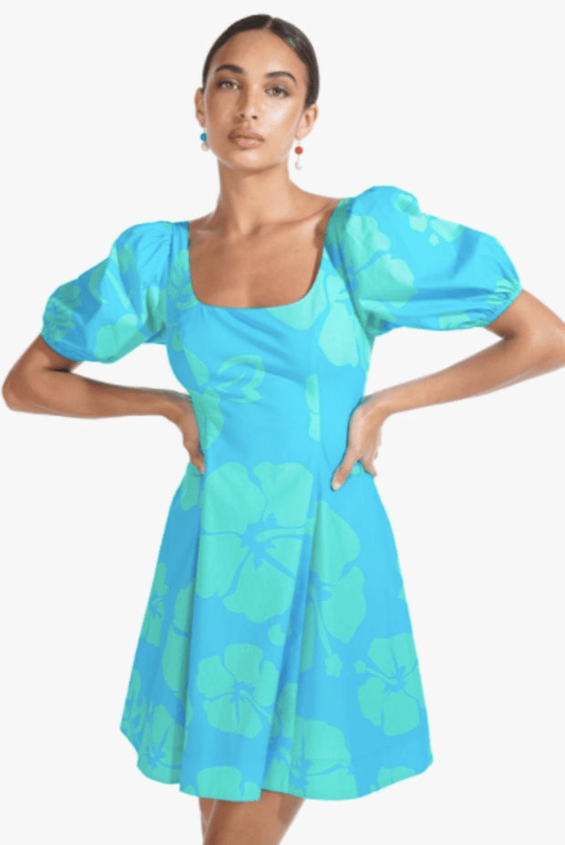 """<p>Staud Laelia Dress, $235, <a href=""""https://staud.clothing/collections/dress/products/laelia-dress-blue-hibiscus?variant=32200455848017"""" rel=""""nofollow noopener"""" target=""""_blank"""" data-ylk=""""slk:available here"""" class=""""link rapid-noclick-resp"""">available here </a></p>"""