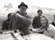 <p>Faye Dunaway shares a laugh with director Vittorio de Sica on the set of <em>A Place for Lovers</em>, which was shot on location in Cortina d'Ampezzo in the Alps. </p>