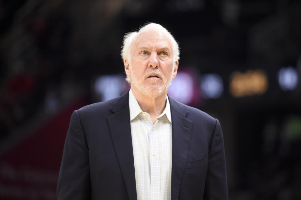 CLEVELAND, OHIO - MARCH 08: Head coach Gregg Popovich of the San Antonio Spurs watches the scoreboard during the second half against the Cleveland Cavaliers at Rocket Mortgage Fieldhouse on March 08, 2020 in Cleveland, Ohio. The Cavaliers defeated the Spurs 132-129. NOTE TO USER: User expressly acknowledges and agrees that, by downloading and/or using this photograph, user is consenting to the terms and conditions of the Getty Images License Agreement. (Photo by Jason Miller/Getty Images)