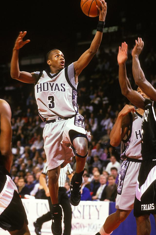 Allen Iverson #3 of the Georgetown Hoyas goes to the basket during a basketbal at Capital Centre on December 10, 1994 in Landover, Maryland.  (Photo by Mitchell Layton/Getty Images)
