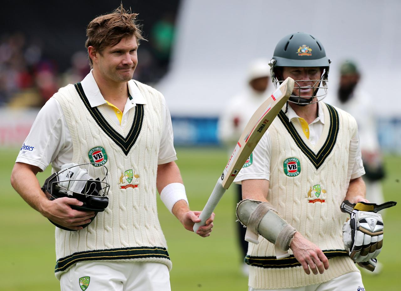 Australia's Shane Watson with Chris Rogers during 100 on day one of the International Warm up match at New Road against Worcestershire, Worcester.