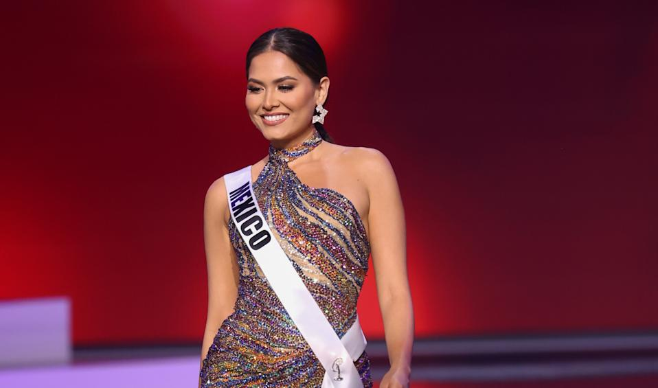 HOLLYWOOD, FLORIDA - MAY 14: Miss Mexico Andrea Meza appears onstage at the Miss Universe 2021  Preliminary Competition at Seminole Hard Rock Hotel & Casino on May 14, 2021 in Hollywood, Florida. (Photo by Rodrigo Varela/Getty Images)