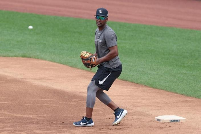 Miguel Andujar practicing at first base in 2020 summer camp