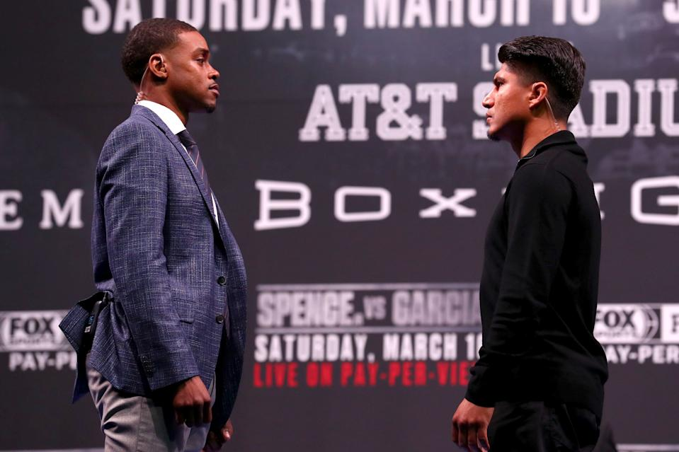 LOS ANGELES, CALIFORNIA - FEBRUARY 16: Errol Spence and Mikey Garcia face off during the Errol Spence v Mikey Garcia Press Conference at Microsoft Theater on February 16, 2019 in Los Angeles, California. (Photo by Joe Scarnici/Getty Images)